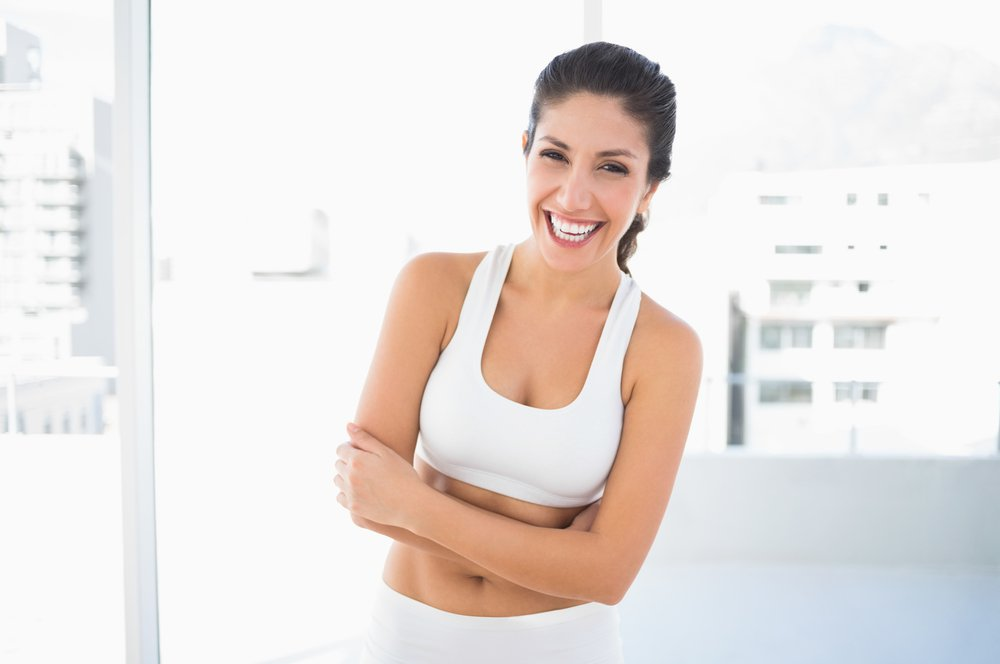 happy woman with dark hair